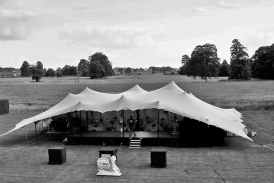20m x 23m chino stretch tent at Ston Easton as a dinner theatre tent