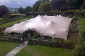 Stretch tent over walled garden at Hatch House