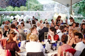 Audience dining at Hatch House under 20 x 23m stretch tent