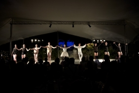 Curtain call at Hatch House under stretch tent