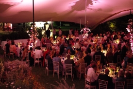 20m x 23m chino stretch tent at Hatch House. Diners eating between performance
