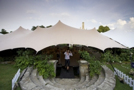 dancer takes to the stage at Hatch House under 20x23m stretch tent