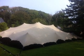 20mx15m chino stretch tent with the sides down on Sark