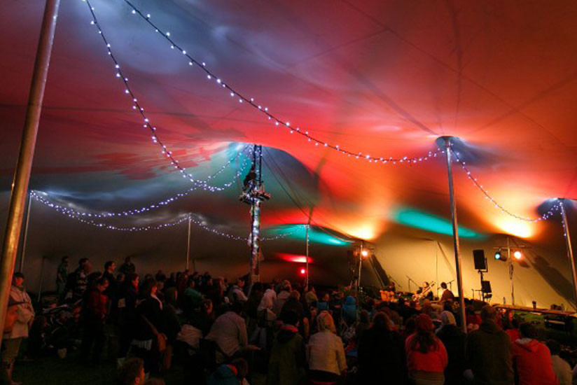 Acoustic Stage at Festival (chino stretch tent) & UK Stretch Tent Hire For Festivals|CGSM Events