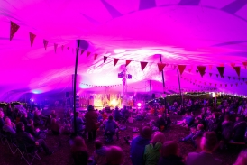 Stretch tent interior at festival (Interior lit with GDS and MBI's)