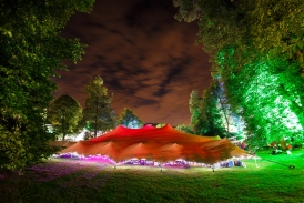 Stretch tent at festival (Exterior lit with GDS and MBI's)