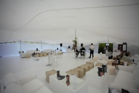 White bar tent interior