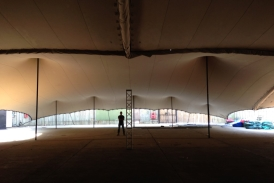 Massive combined stretch tent interior