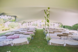 Ceremony tent rustic interior