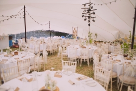 Wedding reception tent interior