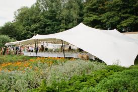 Wedding stretch tent at wedding near Tisbury