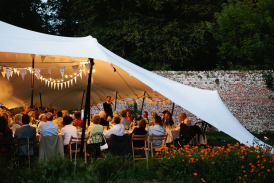 Wedding stretch tent at wedding near Salisbury