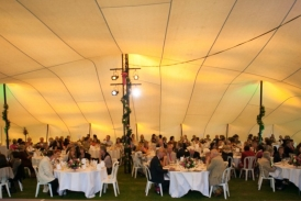 Stretch tent dining area