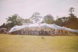 Wedding reception stretch tent at wedding near Glastonbury