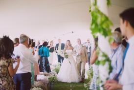 Wedding ceremony stretch tent at wedding near Glastonbury