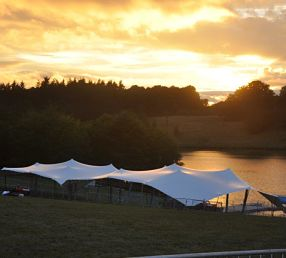 20m x 15m chino stretch tent rigged for a sporting event