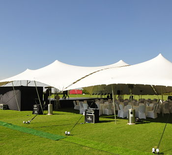5m x 5m white stretch tent rigged as a canopy